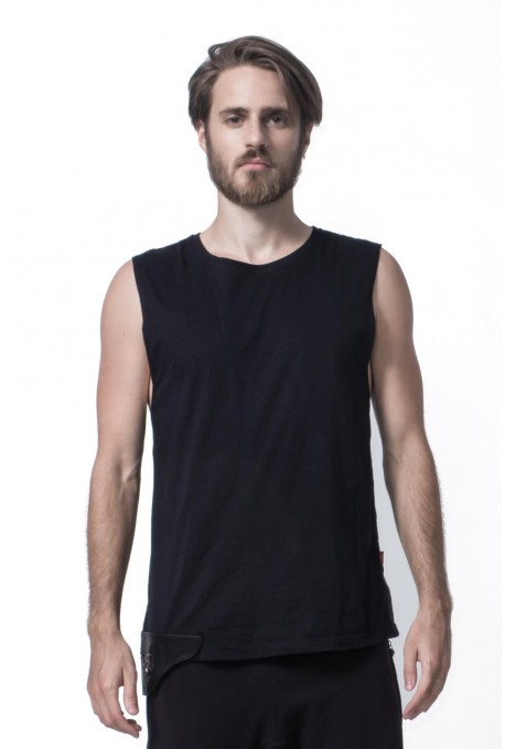 TANK WITH LEATHER POCKET